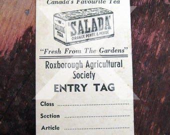 Roxborough Agricultural Society entry tag vintage Avonmore fair ephemera Salada Tea advertising