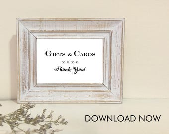 PDF Printable Sign - Gifts & Cards, Thank You - Frame 4 x 6 - Ready For Download Now