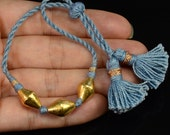 18K Rolled Yellow Gold Bead Woven Bracelet Adjustable 5-9 INCH