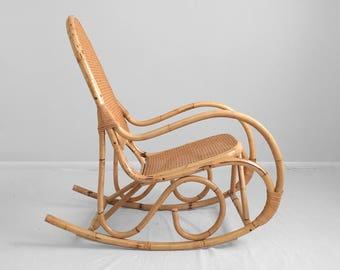 boho chic vintage rattan & cane bentwood rocking chair