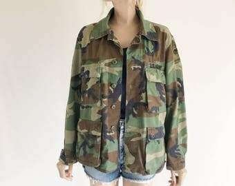 Vintage Camo Grunge Army Jacket. Size Medium