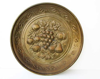 Vintage 1950's Brass Relief Design Still Life with Fruit Decorative Wall Plate, Made in England, Old Brass Patina, Grapes, Apples, Pears