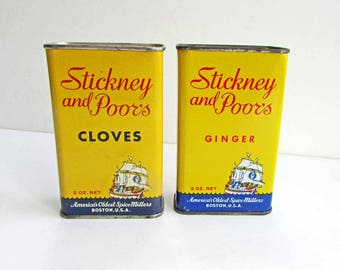 Two 1950 Vintage Stickney & Poor's  Spice Tins, Cloves Ginger, Yellow, Blue and Red Tins, Pantry/Kitchen Decor, Advertising Spice Tins