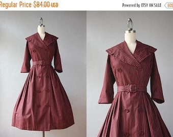 STOREWIDE SALE Vintage 50s Dress / 1950s Striped Red Striped Wrap Dress / 50s Shawl Collar Pleated Cotton Day Dress L large