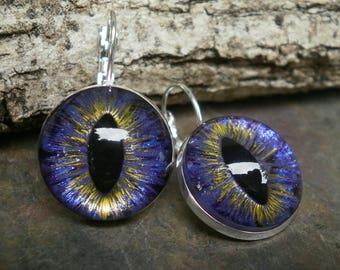 Gothic Steampunk Purple Eye Lever Back Earrings in Silver Plate