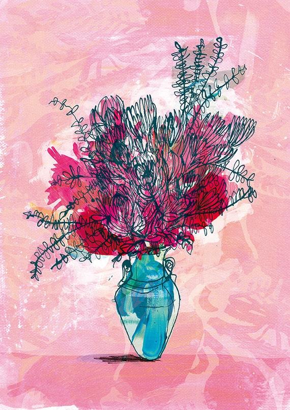SALE A Pot of Proteas Archival Wall Art Print botanical