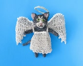 RESERVED Angel cat brooch