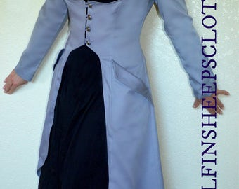 Steampunk Corset Coat Silver Gray