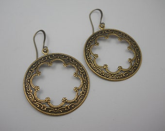 Brass Front Facing Hoop Earrings Everyday Wear Jewelry Ornate Brass Rings on Rounded Long Brass Ear Wires Baroque Style