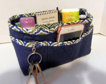 "Purse Organizer Insert/4"" Depth Enclosed Bottom/Quilted/ Navy With Navy and Olive Green"