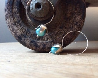 Sterling Silver Lily of the Valley Earrings with Blue Pearls