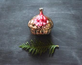 Antique Christmas Ornament, Basket Ornament, Vintage Basket Ornament, Glass Ornament, Holiday Decoration, Ornaments & Accents