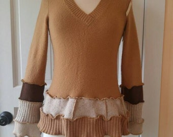 V neck Pullover Sweater - Fun Upcycled Clothing - Size Medium