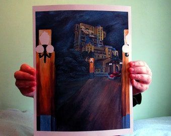 Hollywood Tower Hotel Tower of Terror, Disney Resort California Adventure, 8x10,  Matte Print. Disneyland Painting, Twilight Zone