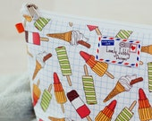 Ice Cream Cone Icecream Ice Lolly Fab Rocket Twister Classic Retro on Graph Paper Print Makeup Cosmetic Toiletry Wash Bag