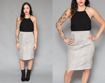 Vintage 80s High Waisted Gray Suede Skirt // Grey Midi Pencil Skirt - 27 inch waist