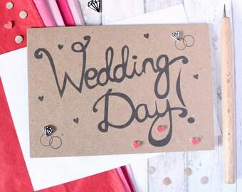 Wedding Day Card. Handmade Wedding Card. Wedding Congratulations Card. Wedding Card. Wedding Cards. Love Hearts. Diamond Ring. Wedding Card