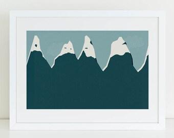 Mountains - landscape wall art print