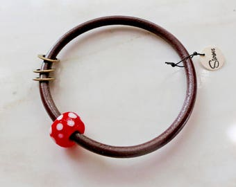 Amanita Muscaria Mushroom - brown leather and red glass bangle bracelet