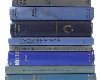 Blue Books   Books By The Foot   Home Staging   Vintage Cloth Books   Book Decor   Photo Prop   Book Stack   Distressed Books   Book Set