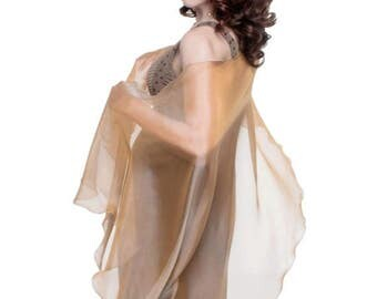 Promo Sale: Caramel - Cream Formal Sheer Silk Scarf - Wrap