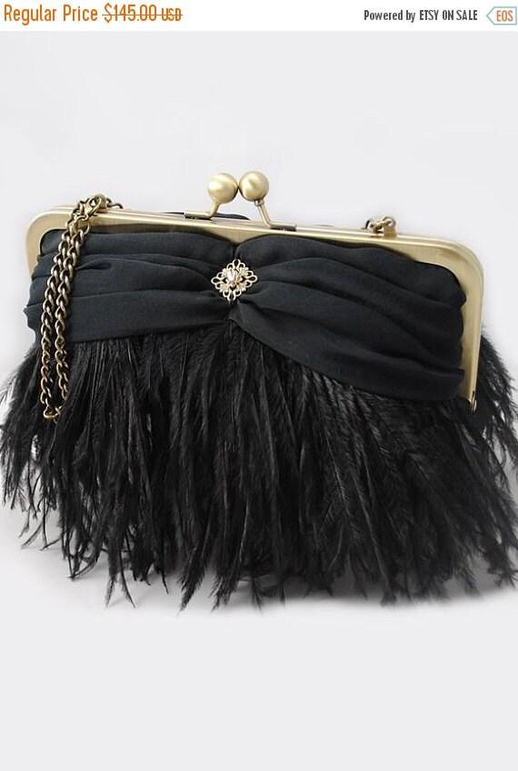 Promo sale: Black Ostrich Feather Evening Clutch