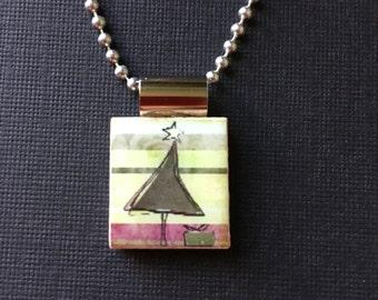 Modern Christmas tree scrabble jewelry, Christmas Tree pendant, Christmas Tree necklace, handmade scrabble jewelry, holiday gift, Christmas