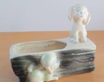 Vintage Puppy Planter • Vintage USA Rectangular Animal Vase • Whimsical Character Planter USA