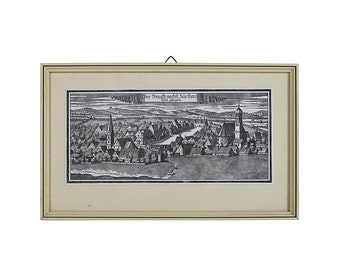German Town | Framed Etching | Vintage Germany | Black and White | Professionally Framed
