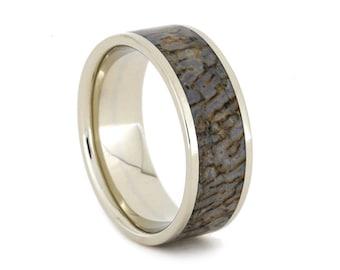 Dinosaur Bone Ring in 14k White Gold Ring, Dinosaur Bone Wedding Band