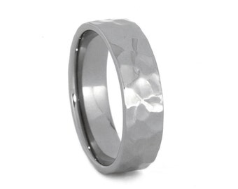 Hammered Custom Profile Wedding Band, Personalized Titanium Ring For Men, Made to Order