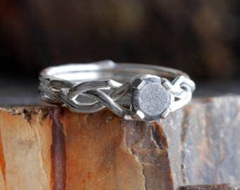 Sterling Silver Engagement Ring, Woven Ring Band with a Meteorite Center Stone, Unique Meteorite Engagement Ring