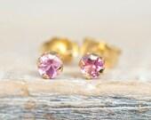 14k Gold Pink Sapphire Stud Earrings, Sapphire Post Earrings, Natural Sapphire Earrings
