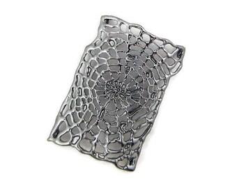 Dark Silver-tone or Hematite Spider Web Slide Charm