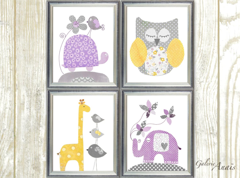 purple yellow and gray nursery decor girl nursery wall art. Black Bedroom Furniture Sets. Home Design Ideas