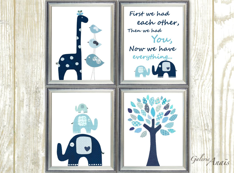 Navy Blue Wall Decor Nursery : Navy blue aqua nursery wall art kids room baby