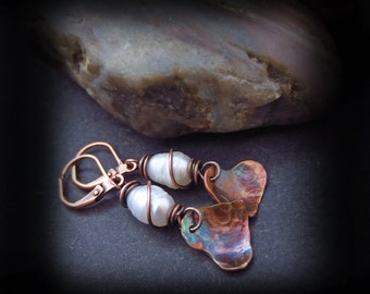 Flame Patina Copper Heart Earrings with Wire Wrapped Pearls - Copper Earrings - Pearl Earrings - PATINA HEARTS
