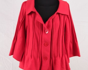 VINTAGE Red Knit JACKET Cardigan 3/4 Sleeves w/ DARTS Detailing