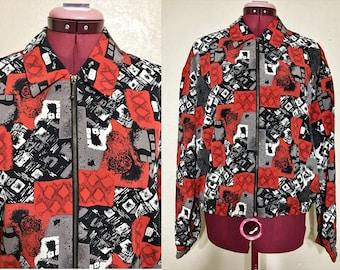 vintage 80's Kensington Square jacket. red black and white jacket. geometric jacket. zippered jacket