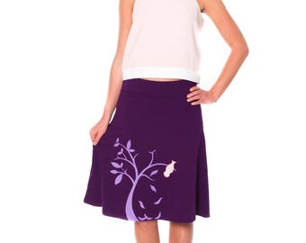 Mother's day gifts, knit cotton skirt, Graphic midi skirt, Purple Knee Length appliqué A-line Skirt- The bird and the falling leaves
