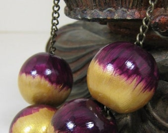 ON SALE Large Bead Necklace, Large Wooden Beads, Violet and Gold, Violet Red, Reddish Purple, Handmade