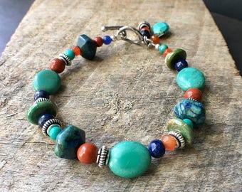 Multistone Beaded Bracelet, Southwest Beaded Bracelet, Turquoise Bracelet