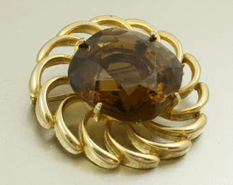 Vintage 60s Brooch with Large Amber Glass Stone, Gold Tone, Faux Smoky Quartz, MOD Brooch