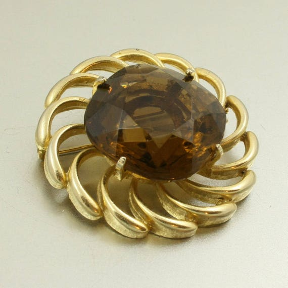 Vintage 60s Brooch with Large Amber Glass Stone