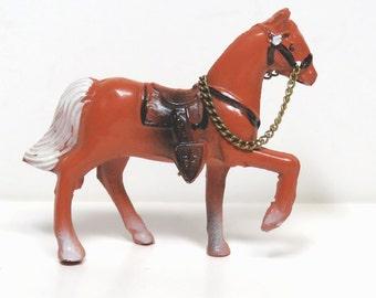Vintage Miniature Western Saddle Horse/ Cast Metal Carnival Prize Figurine