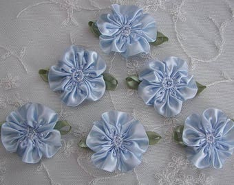 6pc Glass Beaded Blue Satin Fabric Fabric Flower Applique Baby Doll Christening Bridal Corsage