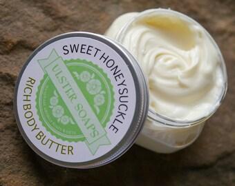 Sweet Honeysuckle Body Butter- hand creme/lotion/soft hands/body cream/healing/dry skin/body cream/hand cream/homemade lotion/body lotion