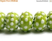 ON SALE 50% OFF New! Handmade Glass Lampwork Bead Set - 10508201 Seven Polka Dots on Lime Green Rondelle Beads