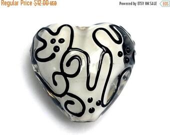 ON SALE 45% OFF Black & White Stringer Heart Focal Bead - Handmade Lampwork Bead 11813105