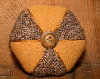 Tan and Herringbone, Hexagon Two-Wool Pincushion